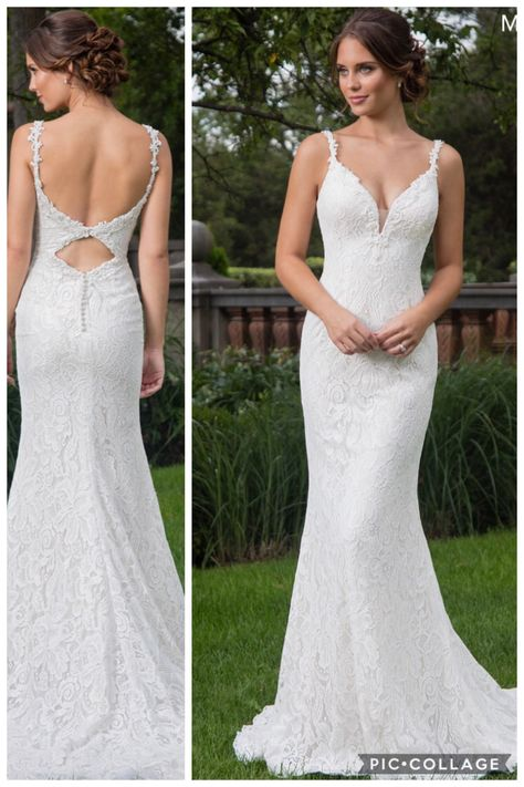 2cbf6cd35f0 All over Lace sheath Bridal Gown with bead embellished sweet heart neck  line