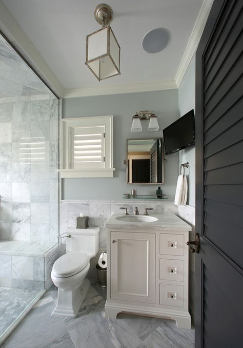 Perfect small bath. West Indies style residence, Tampa, FL. E+D Architecture and Design.