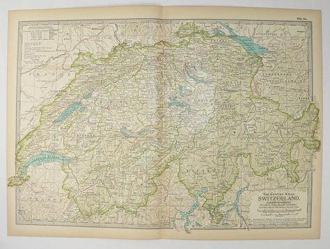 Old Switzerland Map 1899 Vintage Map, Swiss Alps Mountains ...