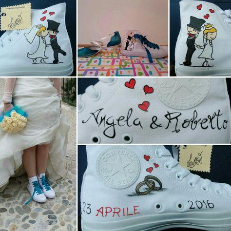 Matrimonio personalizzato ... converse dipinte a mano!