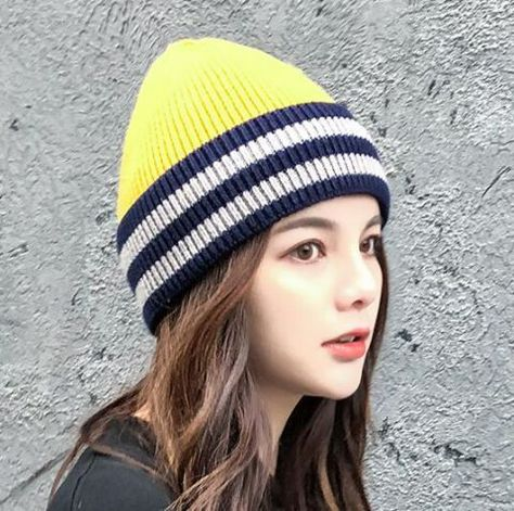 Gray and yellow striped beanie hat for women stylish knit beanie hats  street style 5e3da1fa346d
