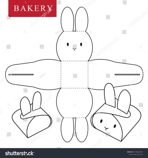 Package for bakery stock vector (royalty free) 1038563341 – Basteln für Kinder – etexture Diy Crafts For Gifts, Holiday Crafts, Crafts For Kids, Diy Gift Box, Diy Box, Bunny Crafts, Easter Crafts, Paper Box Template, Box Template Printable