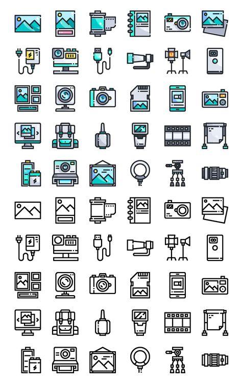 30 Photography Icons AI, EPS