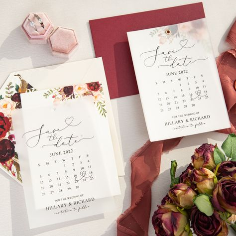 Burgundy and blush floral pattern is so beautiful and elegant in this save the date cards. The vellum overlay will also add a unique touch. #weddinginspirationss#weddinginvitations#stylishwedd#vellumweddinginvitations#savethedate#weddingstationery