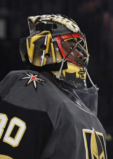 Las Vegas Nevada September 24 Malcolm Subban 30 Of The Vegas Golden Knights Tends Net Against The Color Golden Knights Vegas Golden Knights Hockey Helmets