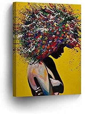 Amazon Com African American Wall Art Afro Hair Woman Splash Style Canvas Print Yellow Decor Oil Painthome Decor African American Wall Art Art Afrocentric Art