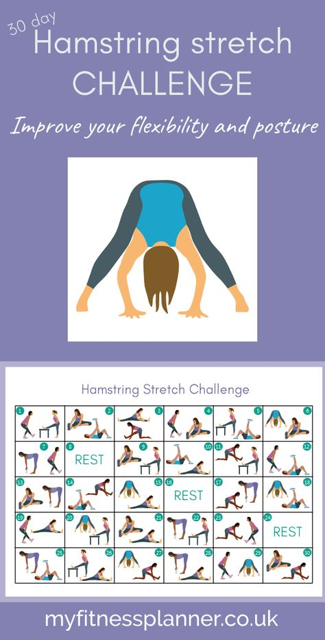 30 day challenge featuring the best hamstring stretches to ease tightness while avoiding strain on the low back. Do a different combination of 2 stretches each day to gradually improve your flexibility. With free printable exercise chart. Best Hamstring Stretches, Back Flexibility Stretches, Muscle Stretches, Flexibility Workout, Stretching Exercises, Stretch Challenge, 30 Day Challenge, Workout Challenge, Workout Schedule