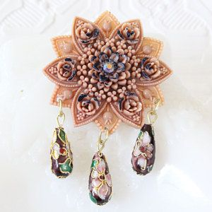 Gorgeous Celluloid Antique Mother Brooch with Rhinestones