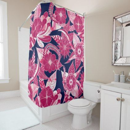 Artsy Modern Fuschia Navy Acrylic Floral Leaves Shower Curtain