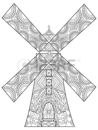 Windmill Coloring Book For Adults Vector Illustration Anti Stress Coloring Books Windmill Vector Illustration