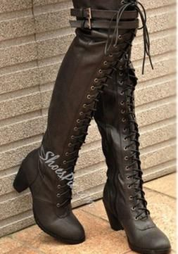 Ladies Chunky High Heel Lace Up Ridding Punk Knee High Leather Boots Shoes Hot