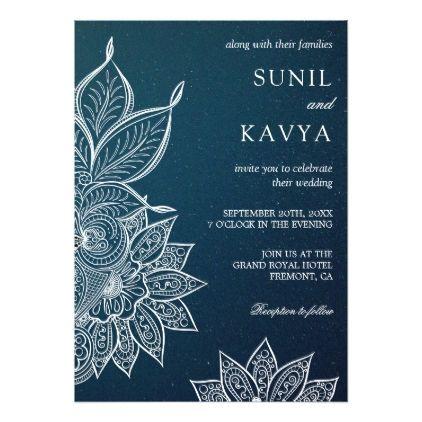Modern Blue Galaxy Henna Indian Wedding Invitation Zazzle Com Indian Wedding Invitations Islamic Wedding Printable Wedding Invitations Vintage