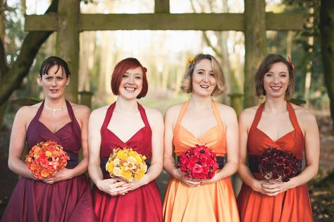 Multi-coloured bridesmaid dresses. Adding different coloured bridesmaids dresses or different shades adds a unique wonderful touch to your wedding day.