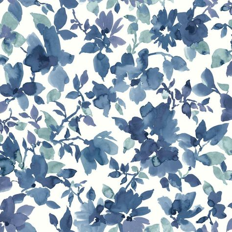 WATERCOLOR FLORAL PEEL & STICK WALLPAPER - blue, white / 1 roll - 20.5 inches wide x 16.5 feet