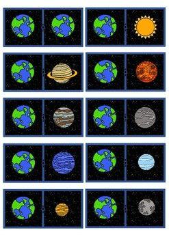 Domino Juego Espacio Planetas Domino Game Space Planets Toddler Quiet Book Sistema Solar Sun Moon