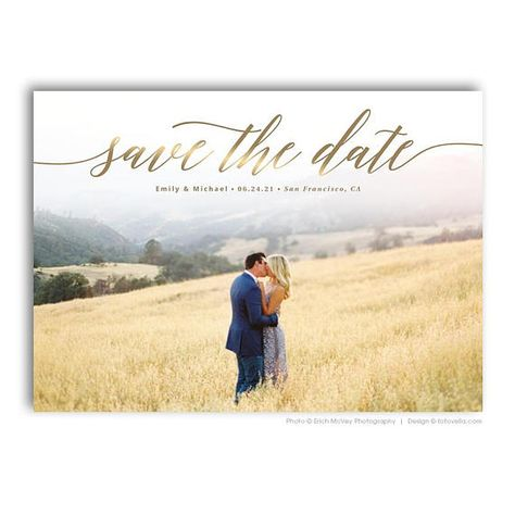 Save The Date Card Photoshop Template - Engagement Announcement Template - For Photographers - Photoshop Required - EMILY & MICHAEL - 1689 - Wedding And Engagement Engagement Invitations, Destination Wedding Invitations, Save The Date Invitations, Wedding Invitation Design, Save The Date Cards, Party Invitations, Wedding Branding, Invitation Envelopes, Invite