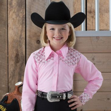 Girls' Pink Sequin Yoke Show Top