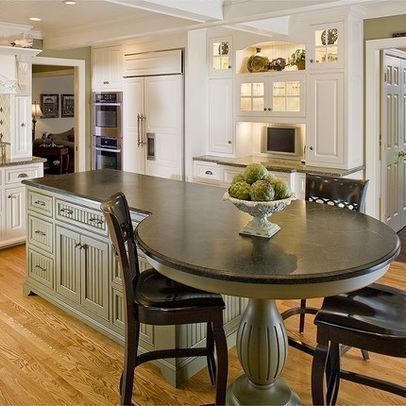 Built In Kitchen Table Ideas Wood Kitchen Island Table Design Ideas Pictures Remodel Round Kitchen Island Kitchen Island Decor Kitchen Island With Seating