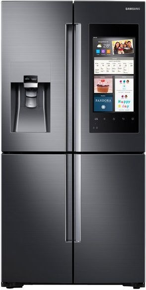 A Counter Depth Refrigerator Is A Full Size Design With Or Without A Fridge Freezer Area This French Door Refrigerator Samsung Family Hub Samsung Refrigerator