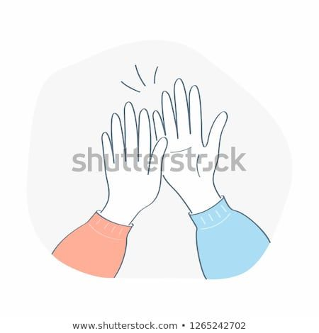 Giving High Five Hands Clap Two Hands Giving High Five To Each Other Flat Outline Doodle Vector Illustrati Vector Illustration High Five Illustration Design