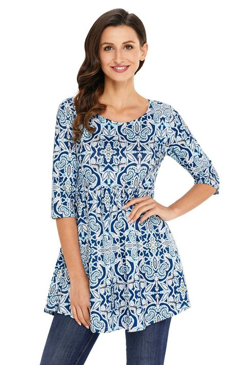 771397f86e6 Ladies Tunic Mint Navy Printed Long Blouses in 2019 | Women's Tops ...