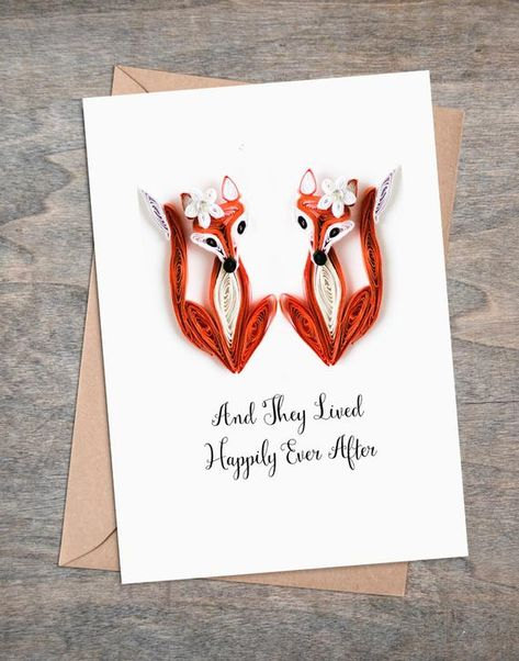 Same sex wedding card for lesbian couple. Paper fox Mrs and Mrs. Perfect gift to celebrate civil partnership between two brides.