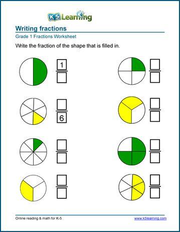 Online Worksheets For Kindergarten 1st Grade Fractions Worksheets Learning Fractions Math Fractions Worksheets