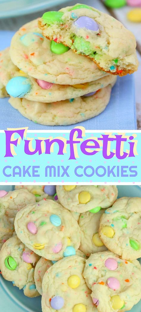 These pastel and delicious FUNFETTI CAKE MIX COOKIES are one of my favourite cookie recipes ever. I just love the spring 'Eastery' look and the moist cake-like taste. This is one amazing cookie, they are a must-make! #easter #cookie #cookierecipe #cakemixcookie #easterdessert