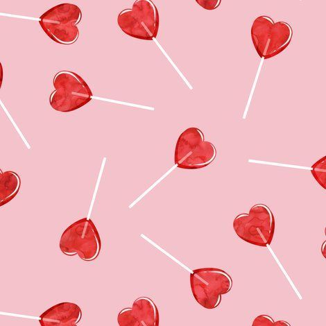 heart shaped suckers - lollipops red watercolor on pink fabric by littlearrowdesign on Spoonflower - custom fabric aesthetic Colorful fabrics digitally printed by Spoonflower - heart shaped suckers - lollipops red watercolor