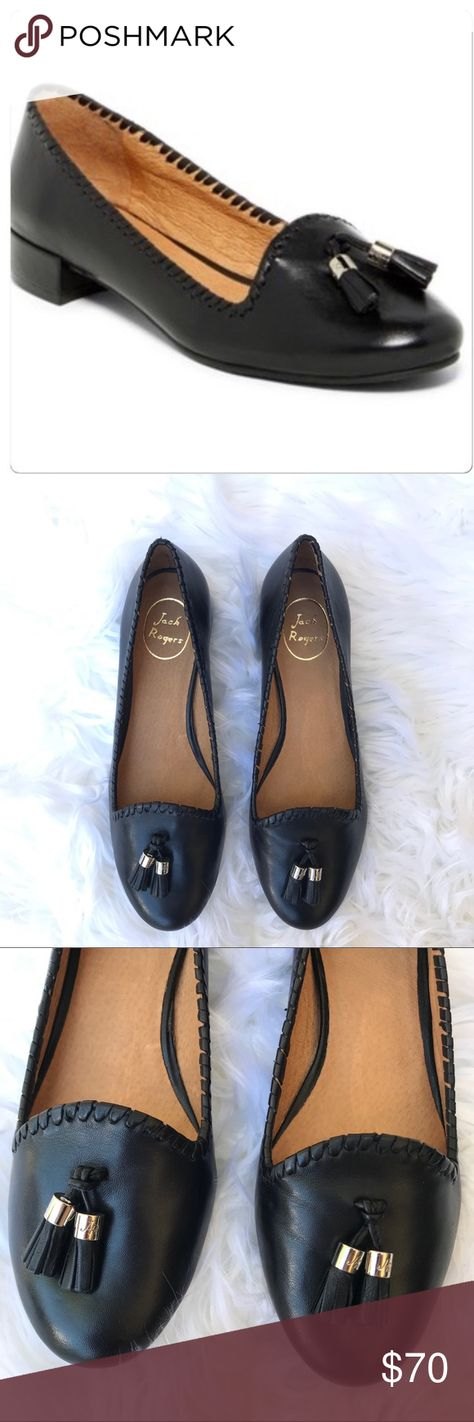 NWT Jack Rogers Gabrielle Black Leather Flats NWT Jack Rogers Gabrielle Black Tassel Leather Flats.  Dainty tassel details at the front. Whipstitch trim. Leather lining. Lightly padded leather insole. Size 10. Never worn. Jack Rogers Shoes