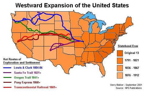 This show the most famous of trails that those moving west took, this would be very useful for the students to see so that they will have an idea of the types of features they had to go through to get west.