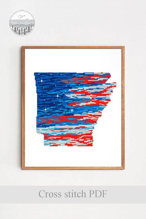 Arkansas State Modern Cross Stitch Pattern, American Flag Counted Chart, USA Map Cross Stitch, Silhouette Xstitch, Patriotic, Download PDF