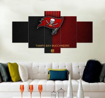 Tampa Bay Buccaneers 5 Panel Canvas Art Nfl Football Team Wall Art Sports Wall Decor Sports Wall Decor Sports Wall Art Multi Panel Wall Art