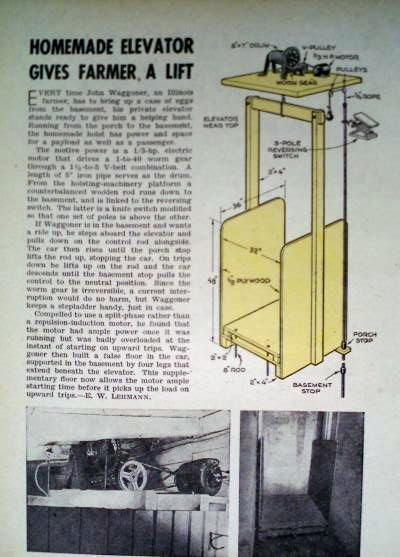 How To Build A Personal Elevator Homemade Lift Hoist 1946 Diy Article Elevator Design House Lift Attic Lift