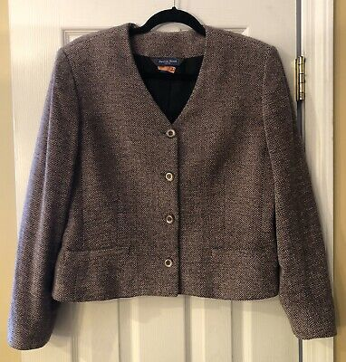16p Austin Reed Petites Wool Blend Herringbone Cropped Jacket Lined Collarless Crop Jacket Clothes Design Collarless