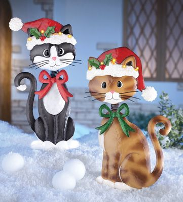 Holiday Bobble Head Cats Garden Stakes