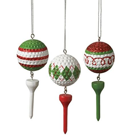 Golf Ball with Golf Spike Christmas Ornaments Set of 3 | Christmas Ornaments - Top Brands, Artists & Designer Names