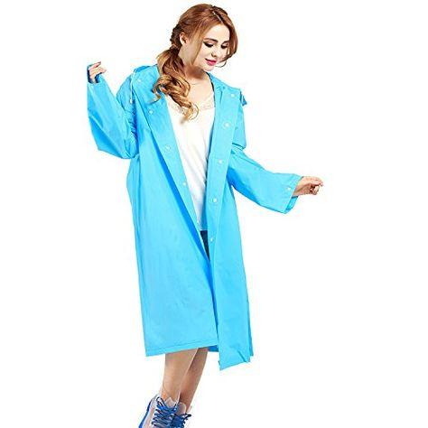 af3ac3565678be Regenponcho Regenjacke Regenmantel für Männer und Frauen EVA Poncho  Tragbarer Umgebungslicht Regenmantel für das Fahrrad 14570cm (blau).