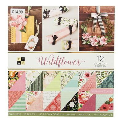 Collage Supplies 183080 American Crafts 12 X 12 Wildflower Paper Pad Stack 60 Designs Printed Cardst Paper Crafts Scrapbook Paper Crafts Cardstock Paper