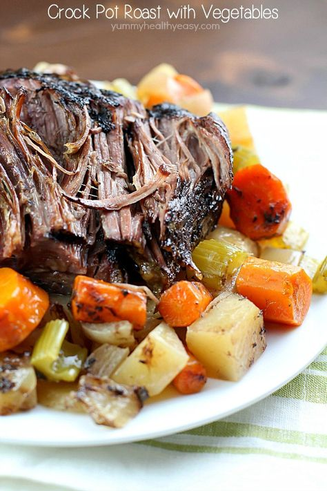 This Crock Pot Roast with Vegetables is a family favorite Sunday dinner. I love everything about this meal. It's an entire dinner in one crock pot. You have your veggies, starch and meat all cooked together - and the meat is SO tender and delicious! This is a must-make!