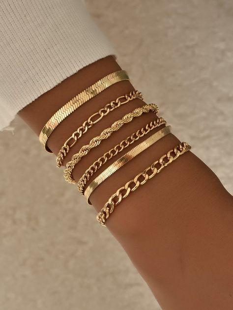 6 pieces gold alloy simple link chain bracelet set casual   Etsy