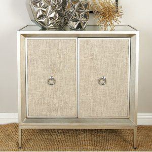 Modern Reflections Metal Wood And Mirror Cabinet Fine Finish Feature Rectangular Clear Mirror Table Top Beige C Accent Cabinet Accent Doors Bedroom Storage