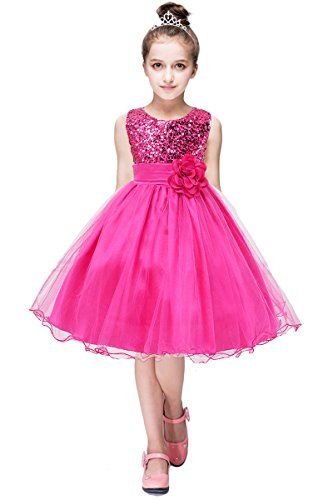 YMING Flower Sequin Princess Dress Sleeveless Tutu Tulle Birthday Dresses for Girls
