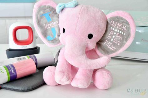 Birth Announcement Stuffed Animal With Cricut EasyPress Mini - Tastefully Frugal