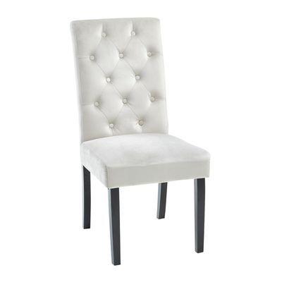 Tufted Rollback Gray Velvet Dining Chair Velvet Dining Chairs Gray Dining Chairs Dining Chairs Gray velvet dining chairs