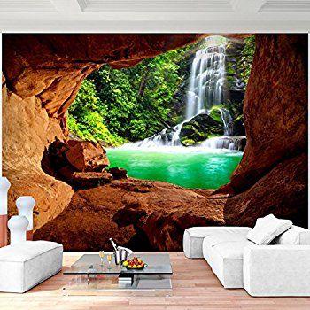 Fototapete Wasserfall 396 x 280 cm Vlies Wand Tapete Wohnzimmer - tapeten wohnzimmer