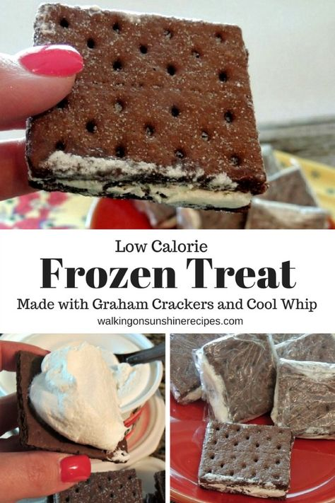 Low Calorie Cool Whip Frozen Sandwiches made with Graham Crackers - Frozen Treat Graham Cracker Sandwiches made with Cool Whip from Walking on Sunshine Recipes - Low Calorie Desserts, No Calorie Foods, Köstliche Desserts, Frozen Desserts, Frozen Treats, Low Calorie Cookies, Low Calorie Baking, Healthy Low Calorie Snacks, Low Calorie Cake