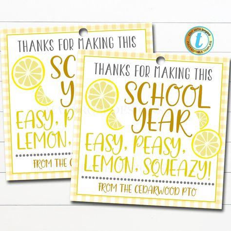 Lemons Gift Tag, Thanks you easy peasy lemon squeezy, Appreciation Week Gift, Thank You Volunteer Coworker Staff Teacher, Editable Template #TeacherAppreciation #AppreciationWeek #StaffCoworkerGift #ThanksForMaking #WhenLifeGivesYou #YellowHappyBright #TheSchoolYearSo #LemonsMakeLemonade #ThankYouTag #EmployeeVolunteer