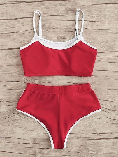 41cae6404 Set de bikini top ribete en contraste con bragas con cordón | ROMWE ...