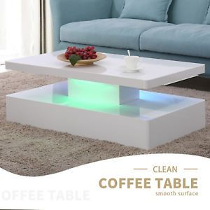 High Gloss Led Lighting Modern Coffee Table With Remote